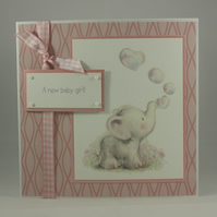 Handmade pink new baby card