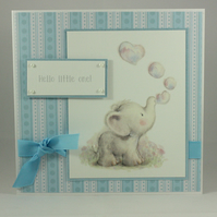 Handmade blue new baby card