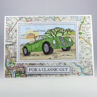 Handmade Father's Day card - classic car on map background - can be personalised