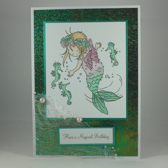 Handmade child's birthday card - pretty mermaid