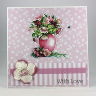 Handmade any occasion card - floral vase
