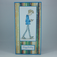 Handmade teenage boy birthday card - texting