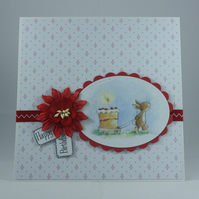 Handmade birthday card - bunny with birthday cake