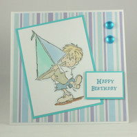 Handmade birthday card - boy with sailing boat