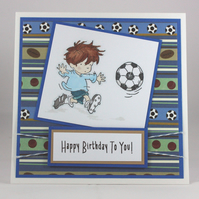 Handmade boy's birthday card - playing football