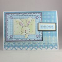 Handmade birthday card - bunny rabbit -  baby, toddler, 1st birthday