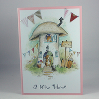 Cute mouse and toadstool new home card
