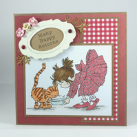Handmade birthday card - saucer of milk for kitty