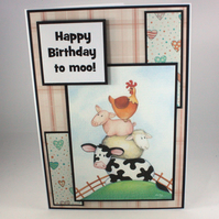 Handmade birthday card - farm animals, Happy Birthday to moo