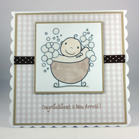 Handmade new baby card, unisex, gender neutral