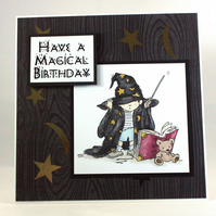 Handmade child's birthday card - the wizard