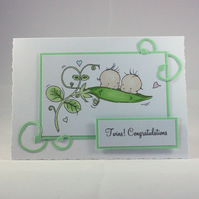 Twin babies card - two peas in a pod