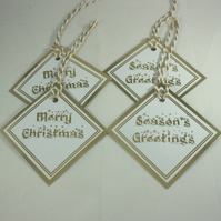 Gold foiled Christmas gift tags - pack of 4