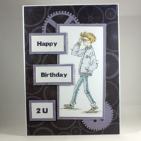 Handmade boy or teenager birthday card - Happy Birthday 2U
