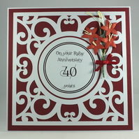 Handmade Ruby Wedding Anniversary card, 40th Anniversary card