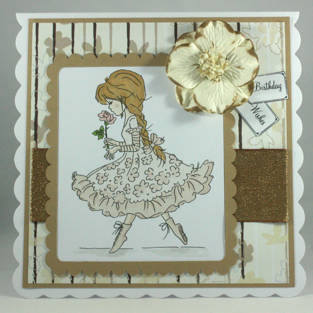 Handmade birthday card - pretty girl with rose