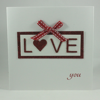 Red glitter love you Valentine's Day card