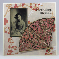 Handmade oriental lady birthday card