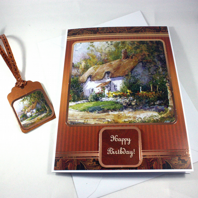 Birthday card and matching gift tag - thatched cottage