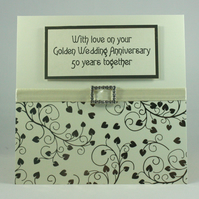Handmade Golden Wedding Anniversary card, 50th Wedding Anniversary
