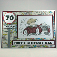 Handmade 70th birthday card Dad the motorist