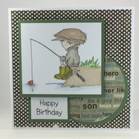 Handmade birthday card  - the fisherman