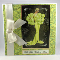 Any occasion card and matching gift tag - glamorous lady