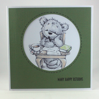 Handmade birthday card - thoughtful bear