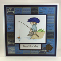 Handmade Father's Day card - the fisherman