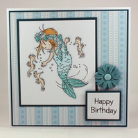 Handmade birthday card mermaid