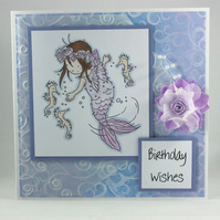 Handmade birthday card - purple mermaid