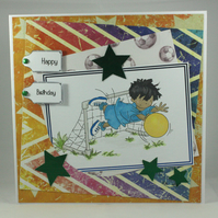 Handmade birthday card - football goalie