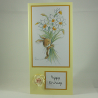 Handmade birthday card - bunny with daffodil bouquet