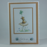 Any occasion greetings card - mouse with clover