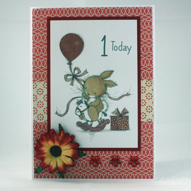 Handmade child's first birthday card - rocking horse bunny