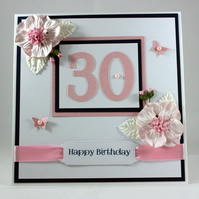 Handmade boxed 30th Birthday card