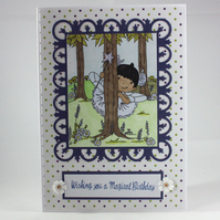 Handmade child's birthday card - fairy in the woods - magical birthday