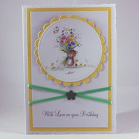 Handmade birthday card - mouse bouquet