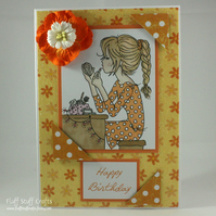 Handmade birthday card - make up girl