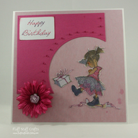 Handmade birthday card - unhappy party girl
