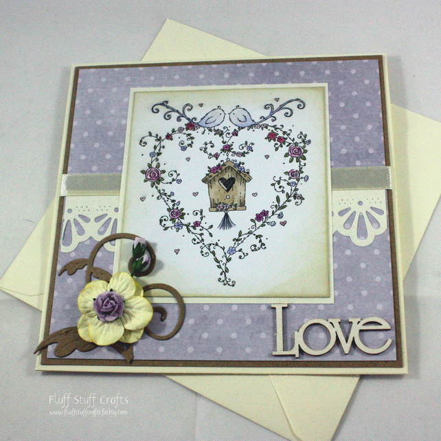 Handmade anniversary or engagement card - love birds