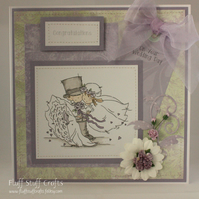 Handmade wedding card, bride and groom, Congratulations on your Wedding Day