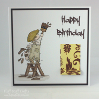 Handmade birthday card - the painter and decorator