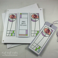 Rennie Mackintosh style birthday card with matching gift tag