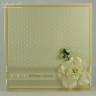 Handmade cream embossed sympathy card