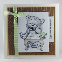 Handmade retirement card - thoughtful bear