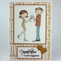 Handmade engagement card - couple with champagne
