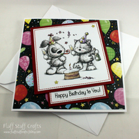 Cat and dog party birthday card