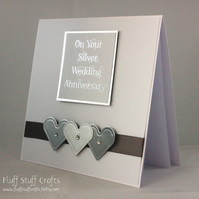 Handmade Silver Wedding Anniversary card, 25th anniversary card
