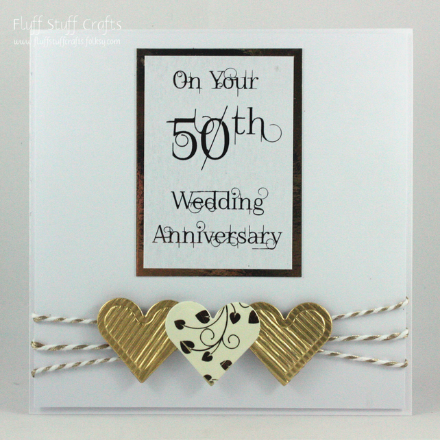 Handmade 50th Wedding Anniversary card, golden wedding anniversary card